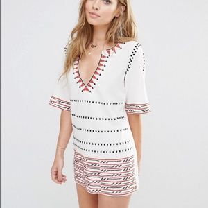 Piper White Embroidered Butuan Tunic Dress